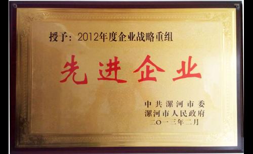 漯河市2012年度企业战略重组先进企业